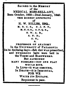 In 1840 The Medical Times published this mock obituary for rival journal, The Medical Miscellany.