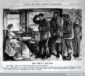 L0004377 Cartoon: 'Our pretty doctor' by Geral du Maurier, 1870