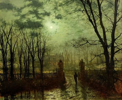 John Atkinson Grimshaw, At the Park Gate (1878)